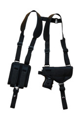 New Horizontal Gun Shoulder Holster with Double Magazine Pouch for Compact 9mm 40 45 with LASER (#NY22L)