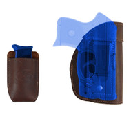 Brown Leather Inside the Waistband Holster + Magazine Pouch for Mini/Pocket .22 .25 .32 .380 Pistols with LASER
