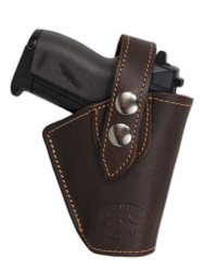 Brown Leather Belt Holster for Mini .22 .25 .32 .380 Pistols with LASER