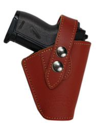 Burgundy Leather Belt Holster for Mini .22 .25 .32 .380 Pistols with LASER