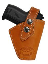 Saddle Tan Leather Belt Holster for Mini .22 .25 .32 .380 Pistols with LASER