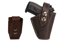 Brown Leather OWB Holster + Single Magazine Pouch for Mini .22 .25 .32 .380 Pistols with LASER