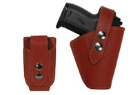 Burgundy Leather OWB Holster + Single Magazine Pouch for Mini .22 .25 .32 .380 Pistols with LASER