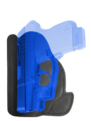 Black Leather Ambidextrous Pocket Holster for Mini/Pocket .22 .25 .380 .32 Pistols with LASER
