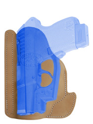Natural Tan Leather Ambidextrous Pocket Holster for Mini/Pocket .22 .25 .380 .32 Pistols with LASER