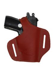 Burgundy Leather Pancake Holster for Mini/Pocket .22 .25 .32 .380 Pistols with LASER