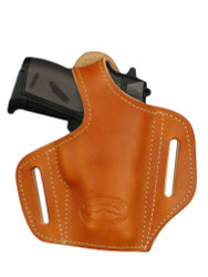 Saddle Tan Leather Pancake Holster for Mini/Pocket .22 .25 .32 .380 Pistols with LASER