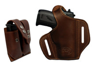 Brown Leather Pancake Holster + Magazine Pouch for Mini/Pocket .22 .25 .32 .380 Pistols with LASER