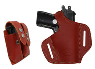 Burgundy Leather Pancake Holster + Magazine Pouch for Mini/Pocket .22 .25 .32 .380 Pistols with LASER