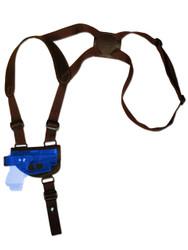 Brown Leather Horizontal Shoulder Holster for Mini/Pocket .22 .25 .32 .380 Pistols with LASER