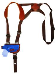 Burgundy Leather Horizontal Shoulder Holster for Mini/Pocket .22 .25 .32 .380 Pistols with LASER