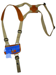 New Saddle Tan Leather Horizontal Cross Harness Shoulder Gun Holster for Mini/Pocket .22 .25 .32 .380 Pistols with LASER (#L49HORST)