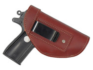 Burgundy Leather Inside the Waistband Holster for .380 Ultra Compact 9mm .40 .45 Pistols with LASER