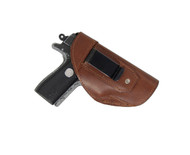 Brown Leather Inside the Waistband Holster for .380 Ultra Compact 9mm .40 .45 Pistols with LASER