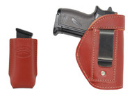 New Burgundy Leather Inside the Waistband Gun Holster + Magazine Pouch for .380 Ultra Compact 9mm .40 .45 Pistols with LASER (#LC68-42BU)