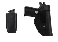 Black Leather Inside the Waistband Holster + Magazine Pouch for .380 Ultra Compact 9mm .40 .45 Pistols with LASER