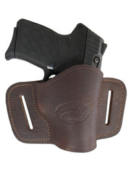 Brown Leather Quick Slide Holster for .380 Ultra Compact 9mm .40 .45 Pistols with LASER