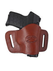 Burgundy Leather Quick Slide Holster for .380 Ultra Compact 9mm .40 .45 Pistols with LASER