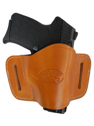 New Saddle Tan Leather Belt Quick Slide Gun Holster for Small .380 Ultra Compact 9mm .40 .45 Pistols with LASER (#L108SCST)