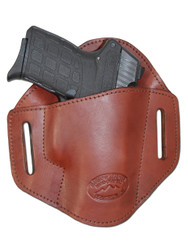 Burgundy Leather Pancake Belt Slide Holster for .380 Ultra Compact 9mm .40 .45 Pistols with LASER