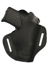 Black Leather Pancake Holster for .380, Ultra Compact 9mm .40 .45 with LASER