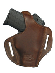 Brown Leather Pancake Holster for .380, Ultra Compact 9mm .40 .45 with LASER