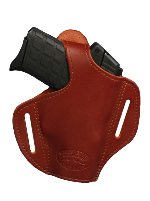 Burgundy Leather Pancake Holster for .380, Ultra Compact 9mm .40 .45 with LASER