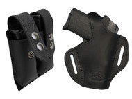 Black Leather Pancake Holster + Magazine Pouch for .380, Ultra Compact 9mm .40 .45 with LASER