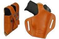 Saddle Tan Leather Pancake Holster + Magazine Pouch for .380, Ultra Compact 9mm .40 .45 with LASER