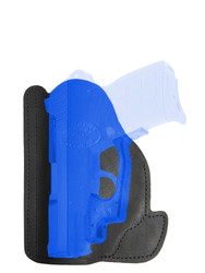 Black Leather Ambidextrous Pocket Holster for Compact 9mm .40 .45 Pistols with LASER