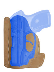 Natural Tan Leather Ambidextrous Pocket Holster for Compact 9mm .40 .45 Pistols with LASER