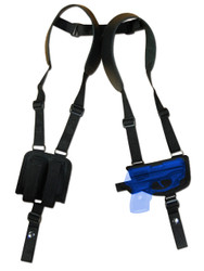 New Horizontal Shoulder Gun Holster w/ Magazine Pouch for Small .380, Ultra Compact 9mm .40 .45 Pistols with LASER (#LNY42)