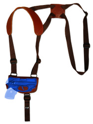 Burgundy Leather Horizontal Shoulder Holster for .380 Ultra Compact 9mm .40 .45 Pistols with LASER