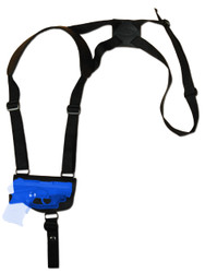 Black Leather Horizontal Shoulder Holster for .380 Ultra Compact 9mm .40 .45 Pistols with LASER