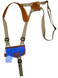 Saddle Tan Leather Horizontal Shoulder Holster for .380 Ultra Compact 9mm .40 .45 Pistols with LASER