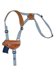 Saddle Tan Leather Horizontal Shoulder Holster for .380 Ultra Compact 9mm .40 .45 Pistols