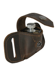 Brown Leather Belt Loop Single Speed Loader Pouch for .22 .38 .357 Revolvers