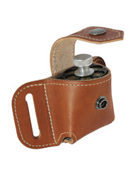 Saddle Tan Leather Belt Loop Single Speed Loader Pouch for .22 .38 .357 Revolvers