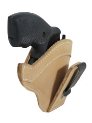 "Tan Leather Tuckable IWB Holster for Snub Nose 2"" 22 38 357 41 44 Revolvers"