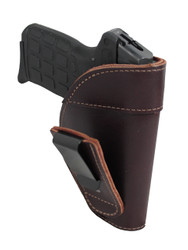 Burgundy Leather Tuckable IWB Holster for 380, Ultra Compact 9mm 40 45 Pistols