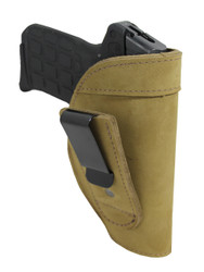 Olive Drab Leather Tuckable IWB Holster for 380, Ultra Compact 9mm 40 45 Pistols