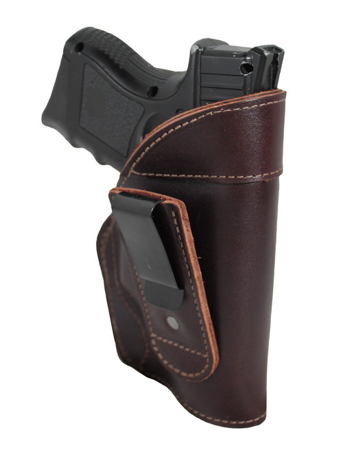 Burgundy Leather Tuckable IWB Holster for Compact Sub-Compact 9mm .40 .45 Pistols