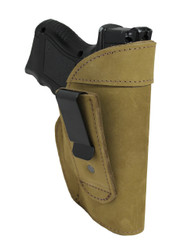 Olive Drab Leather Tuckable IWB Holster for Compact Sub-Compact 9mm .40 .45 Pistols