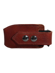 Burgundy Leather Horizontal Single Magazine Pouch