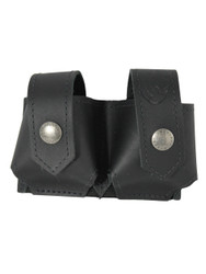 Black Leather Double Speed Loader Pouch .22 .38 .357 Revolvers