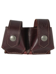 Burgundy Leather Double Speed Loader Pouch .22 .38 .357 Revolvers