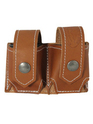 Saddle Tan Leather Double Speed Loader Pouch .22 .38 .357 Revolvers