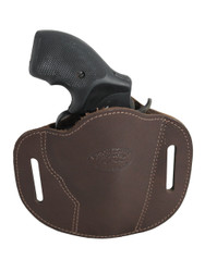 "Holster store: Brown Leather Pancake Belt Slide Holster for 2"" Snub Nose Revolvers"