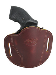 "Burgundy Leather Pancake Belt Slide Holster for 2"" Snub Nose Revolvers"