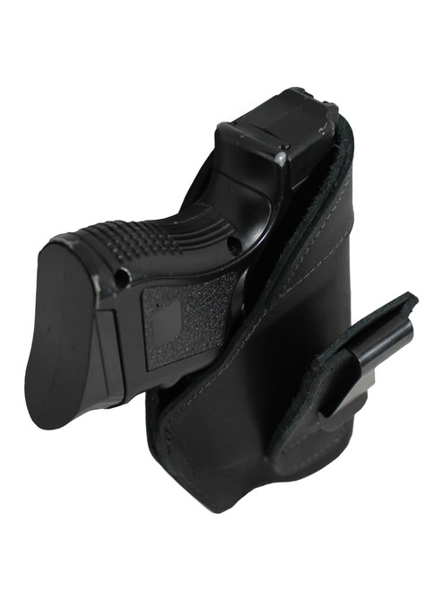 Holster store: Black Leather Tuckable IWB Holster for Compact Sub-Compact 9mm .40 .45 Pistols